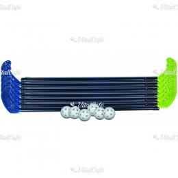 Floorball készlet műanyag 85 cm 2x6 ütő, 6 labda