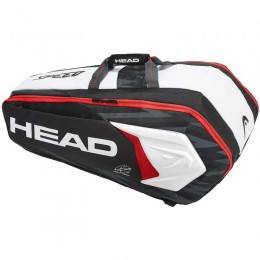 Tenisztáska Head Djokovic 9R Supercombi fekete-fehér-piros