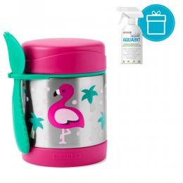 SKIP HOP Zoo Hőtartó ételtermosz kanállal / villával Flamingó 325ml, 12m+ + AQUAINT 500 ml