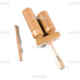 2 hangnemű rovátkált fa hangszer