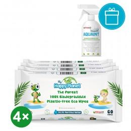 Aquaint Happy Wipes törlőkendő 4x60 db + AQUAINT 500 ml